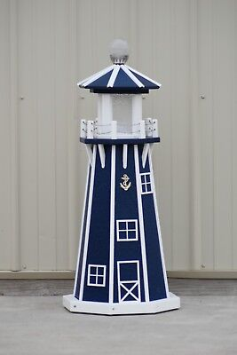 """39"""" Octagon Electric and Solar Powered Poly  Lighthouse (Patriot Blue / white)"""