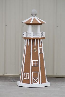 """39"""" Octagon Electric and Solar Powered Poly Lumber Lighthouse (Carmel and white)"""
