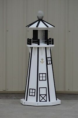 """39"""" Octagon Electric and Solar Powered Poly Lumber Lighthouse (White/black trim)"""