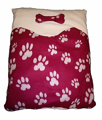 Red Dog Cushion Fleece Paw Print Pet Cushion with Personalisation