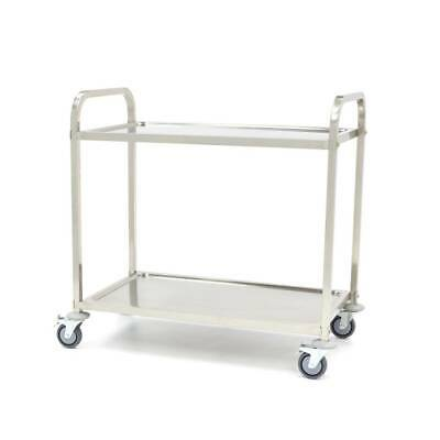 2 Tier Stainless Steel Kitchen Dining Food Trolley Serving Utility Bench Cart E0
