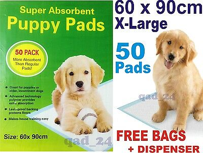 50 X PUPPY DOG PADS TRAINING WEE 60x90CM MAT HOUSE TRAINER PET X LARGE XL