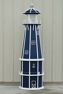 6' Octagon Electric and Solar Powered Poly Wood Lighthouse (PatriotBlue/white)