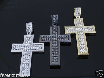 Iced Out Cz Cross Pendant Hip Hop Rare Bling Colors: Silver / Gold / Gunmetal