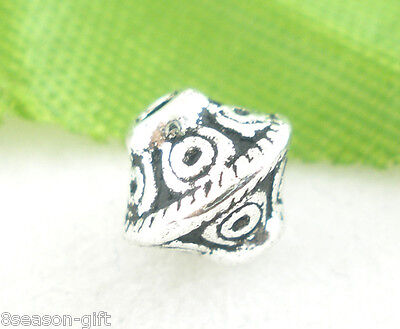 100Pcs Silver Tone Bicone Spacer Beads 6x6mm