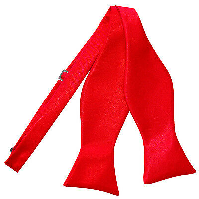 DQT Satin Plain Solid Red Formal Classic Mens Self Tie Bow Tie