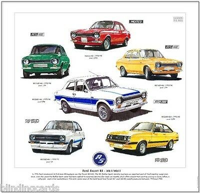 FORD ESCORT RS MkI/MkII  FINE ART PRINT - RS1600 Mexico RS1800 RS2000 Mark 1 / 2