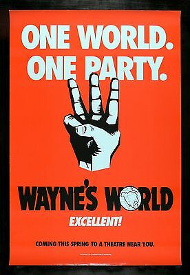 WAYNE'S WORLD * CineMasterpieces SNL PARTY TIME EXCELLENT TEASER MOVIE POSTER