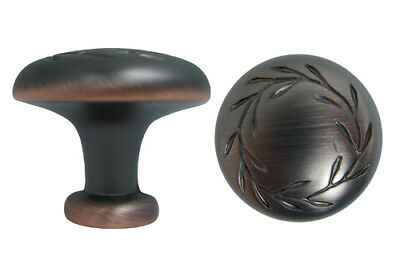 Oil Rubbed Bronze Kitchen Cabinet Drawer Knobs with a Leaf Motif hardware