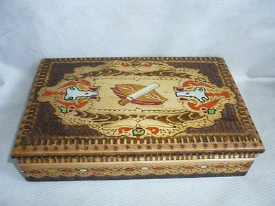 Antique Wooden Cigarette Case Holder Pokerwork Handmade