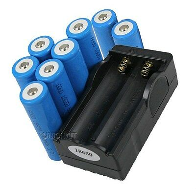 New 8pcs Flashlight Torch 5000mah Rechargeable 18650 Batteries with 1 charger