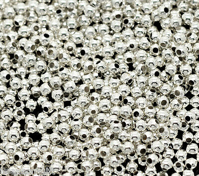3000 Silver Plated Smooth Round Spacers Beads 2mm