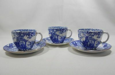 Royal Crown Derby Blue Mikado Set of 3 Surrey Shape Cups and Saucers