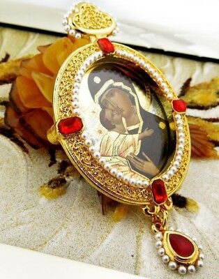 Madonna & Child Christ Icon Pendant Pearl Virgin of Vladimir Russian Icon GIFT