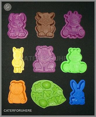 Animal Silicone Cake Tin Mould Cat Dog Cow Hippo Lion Pig Horse Rabbit Bugs Bee