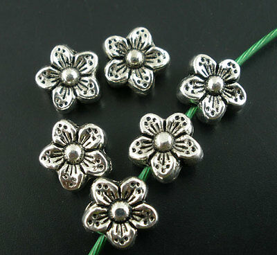 50Pcs Silver Tone Flower Spacer Beads 9mm Findings HOTSELL