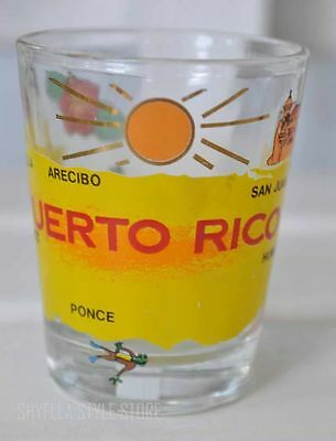 Puerto Rico Shot Glass Shooter Island Map Frog Surfing Palm Trees Souvenir