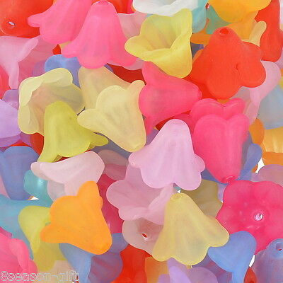 200 Mixed Lily Flower Frosted Acrylic Beads 14x10mm