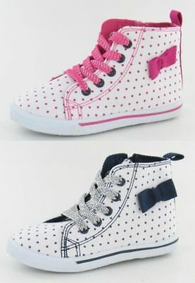 Girls Younger H4076 White Canvas Boots with Spotty and Bow Detail - Pink or Blue