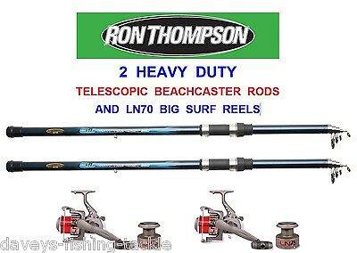 2 RON THOMPSON 12ft HEAVY DUTY TELESCOPIC BEACHCASTER RODS+LN70 REELS PIKE BASS