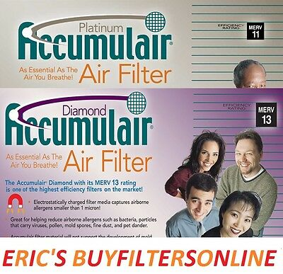 6 PACK ACCUMULAIR MERV 11 & 13 HOME HOUSE  PLEATED AIR FILTERS 4 ALLERGY RELIEF