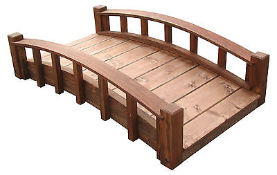 4' Japanese Wood Garden Bridges with Arched Railings, Made in USA, New