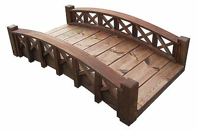 4' Swan Wood Garden Bridges with Cross Halved Lattice Rails, Made in USA,New