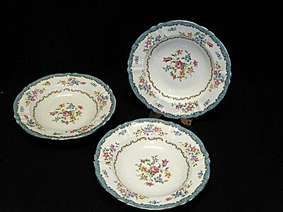 3x VINTAGE CROWN STAFFORDSHIRE CHINA TURQUOISE FLORAL F16164 BOWL