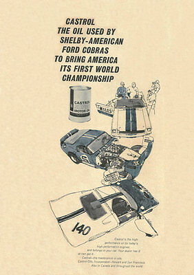 Vintage & Rare 1966 Castrol Shelby American Cobra Ad Better Than Original Print