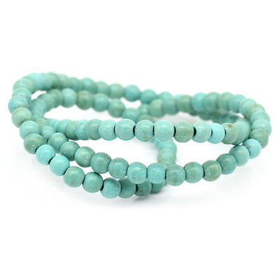 """2 Strands 16"""" Turquoise Round Beads Jewellery Making 4mm Dia."""