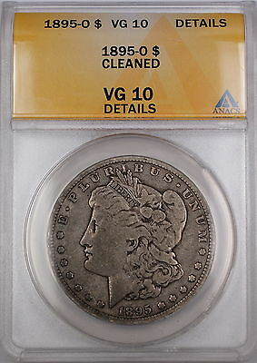 1895-O Morgan Silver Dollar Coin ANACS VG-10 Details - Cleaned Very Good Coin