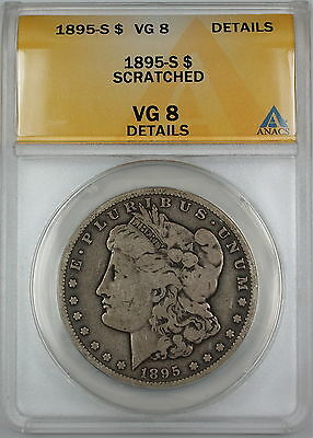 1895-S Morgan Silver Dollar Coin, ANACS VG-8 Details - Scratched, Very Good Coin