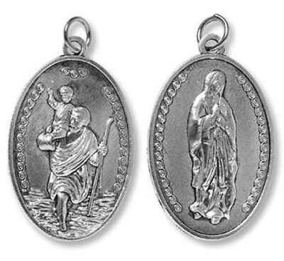 Needzo BULK Deluxe 2 Sided St Christopher / Our Lady Highway Devotional Medal
