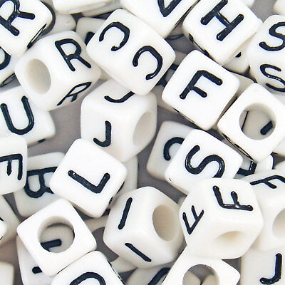 100 Acrylic Single Letter A-Z White Cube Alphabet Beads 6mm