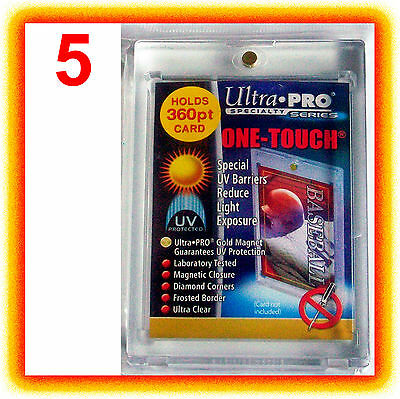 5 Ultra Pro ONE TOUCH MAGNETIC 360pt UV Card Holder Display Case 82719-UV 360