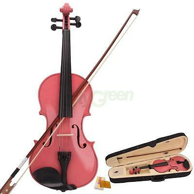 New Acoustic Violin 4/4 Full Size Pink with Case Bow Rosin