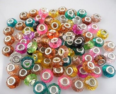 Wholesale 100pcs Bulk Lots Mix Acrylic Faceted Beads Fit Charm Bracelet ZH08