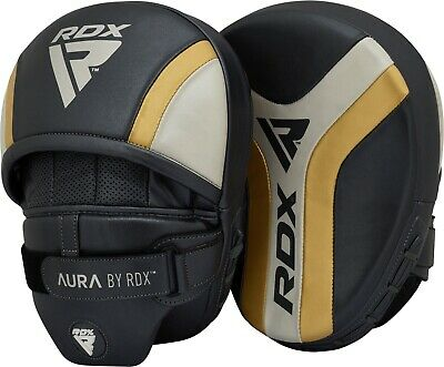 RDX Leather Focus Pads Hook and Jab Boxing Kick Curved MMA Bag Mitts Training WR