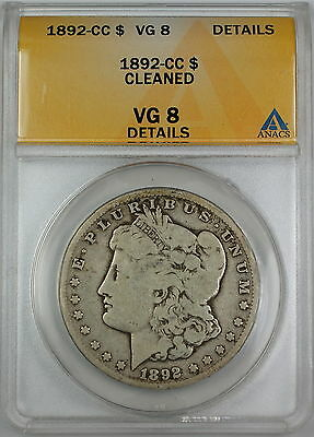 1892-CC Morgan Silver Dollar, ANACS VG-8 Details - Cleaned, Very Good Coin