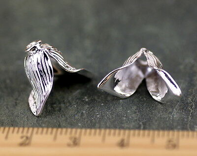 14mm Sterling Silver Plated Filigree Flower Sepal Leaf Bead Cap bc37s (2pcs)