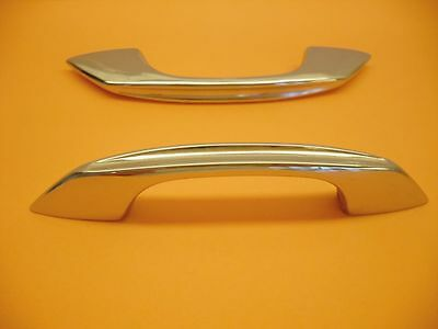 Vintage 1950's CHROME Drawer or Cabinet Door Pulls Handles w Concave Face