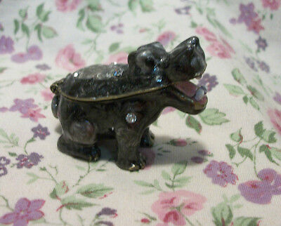 Jeweled Painted Pewter Hippo Baby Mini Hinged Box