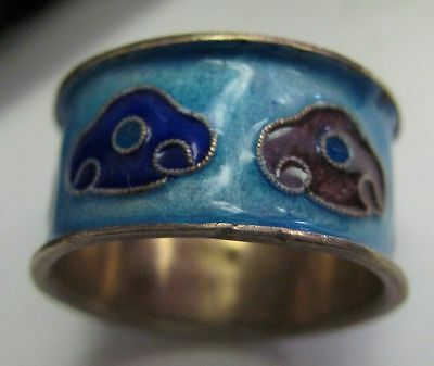 Vintage 1960's enamel TURQUOISE BLUE BAND wide rine ABSTRACT DESIGN