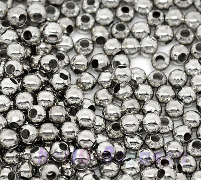 1000Pcs Silver Tone Smooth Ball Spacer Beads 3mm Dia.