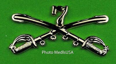 7th Cavalry Crossed Sabers Large Hat Pin