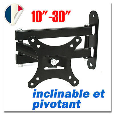 "Support mural tv Neuf Pivotant et inclinable pr LCD 10 15 20 21 26 30"" 29KG #73"