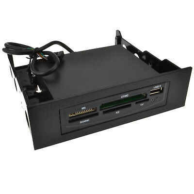 Black Internal 3.5 with 5.25 Bay Memory Card Reader USB