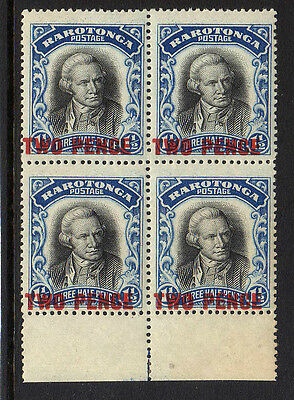 COOK IS.1931 2d ON 1½d NO WMK IN BLOCK OF FOUR SG 93 MNH.