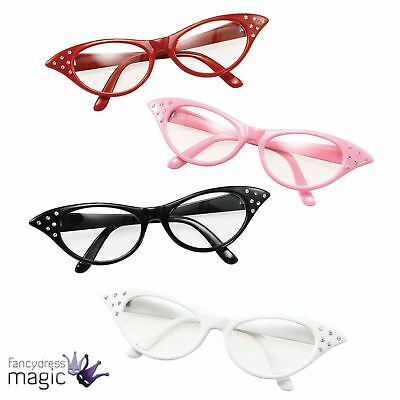 Ladies 1950s 50s 60s Pink Lady Rock n Roll Dame Edna Glasses Specs Fancy Dress