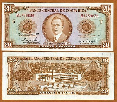 Costa Rica, 20 Colones, 9-10-1967, P-231, aUNC > Scarce